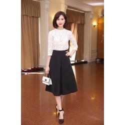 Set Áo Ren Chân Váy Xòe Xếp Ly Xinh Như Thu Thảo - SETXM456