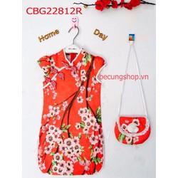 Sườn xám gấm hoa chào đón xuân kèm túi lì xì từ 2-10 Tuổi_CBG22813