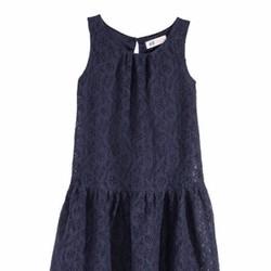 Áo đầm H M ren hai lớp màu xanh đen