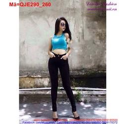 Quần Jean nữ lưng cao màu đen phối 1 nút sành điệu QJE290 View