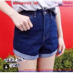Quần short nữ lưng cao xanh trơn lật lai trẻ trung QSO333