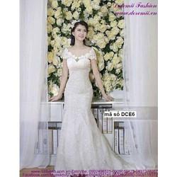 Đầm cô dâu ren lá trể vai sang trọng quyến rũ sDCE6 View