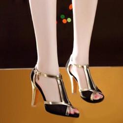 Giày cao gót phối lưới viền da