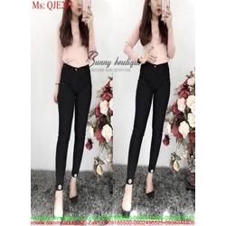 Quần jean lưng cao ống ôm logo M sành điệu thời trang QJE293