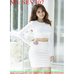 Sét áo croptop dài tay và chân váy bút chì ngắn trẻ trung SEV407 View