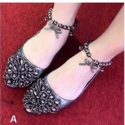 giày búp bê quàng cổ chân cao cấp