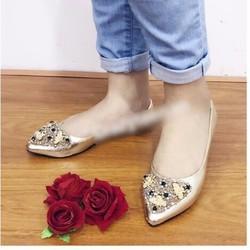 giày búp bê đính hạt 1598