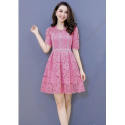 Đầm xòe ren hồng phối viền trắng