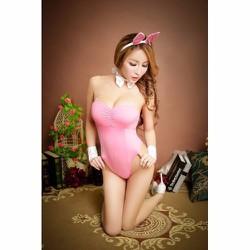 Đồ ngủ liền thân cosplay thỏ màu hồng TK733