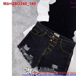 Quần short jean nữ phối 4 nút rach trẻ trung QSO340