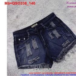 Quần short jean nữ rách lai tua rua bụi bặm QSO338