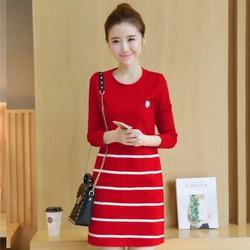 Đầm suông tay dài đỏ phối sọc ngang DNT548