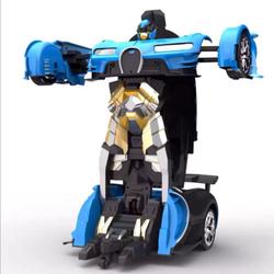 Xe biến hình Robot Transformer có điều khiển từ xa - Bugatti màu xanh
