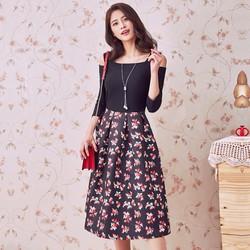Đầm xòe hoa khoét vai thời trang cao cấp 2017 - #10358