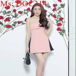 Đầm body hồng cúp ngực phối viền đen 2 bên sành điệu DOC314