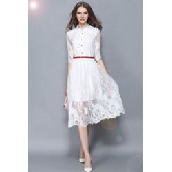 Đầm ren xòe kiểu Vintage kèm thắt lưng