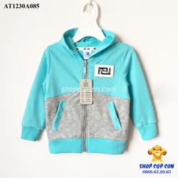 Áo khoác thun phối màu xanh xám size 9-12
