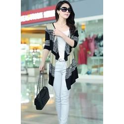Áo khoác len cardigan dệt kim nữ dài tay, phối màu trẻ trung-AK644