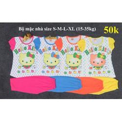 Bộ mặc nhà bé gái in hình Kitty size đại