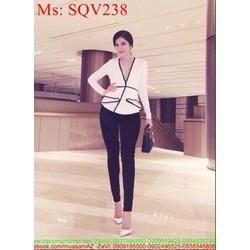 Sét áo dài tay tùng xòe viền đen phối quần SQV238