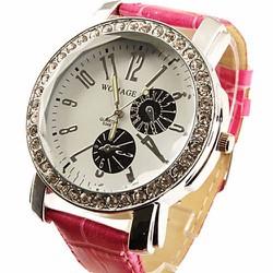 Đồng hồ viền đá dây da nhiều màu cho bạn tha hồ chọn lựa – 175