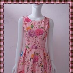 Đầm xuân họa tiết hoa anh đào