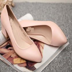 Giày gót vuông mũi nhọn cao cấp - LN1036