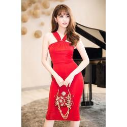 Đầm Ôm Body Cổ Yếm Đính Nút Đẹp Như Ngọc Trinh - DXM468