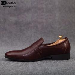 Giày lười nam công sở da sần màu nâu 8644N