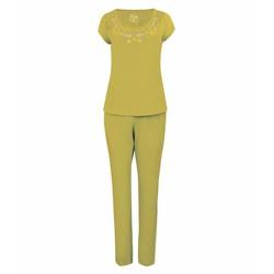 Bộ đồ dài nữ họa tiết viền cổ thời trang - Vàng