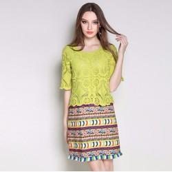 Đầm suông sắc màu phối ren cao cấp cho người mập - #3160