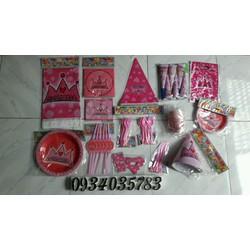 Set trang trí bàn sinh nhật cho bé gái chủ đề công chúa