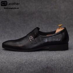 Giày lười nam công sở da sần màu đen 8644D