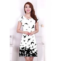 Đầm cotton họa tiết chim én - ZaraNew