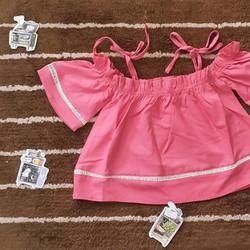 Áo bé gái croptop bẹt vai cột nơ 14-27kg