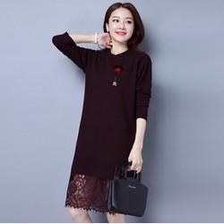 Đầm len suông phối ren thời trang cao cấp - YM706