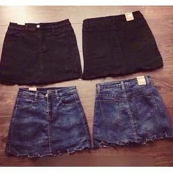 Chân váy jeans rách tà