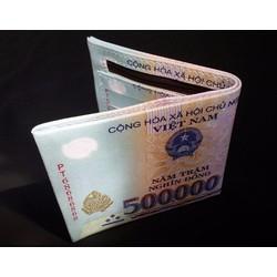 ví nằm hình tiền 500-100 usd
