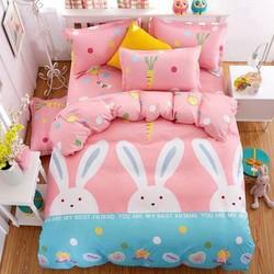 xã kho bộ chăn ga gối cotton hàn quốc con thỏ ngọc đáng yêu loại 1