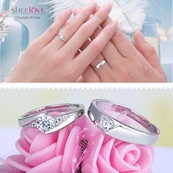 nhẫn đôi bạc tình yêu lãng mạn lấp lánh thời trang SPR-JZ090