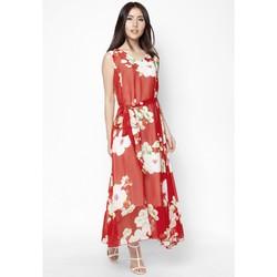 Đầm Maxi hoa mẫu đơn rực rỡ