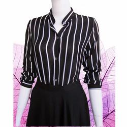 Áo Somi cổ trụ sọc trắng đen, tay dài. M, L , XL
