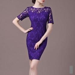Đầm ren tay lỡ màu tím