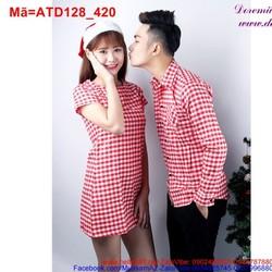 Váy áo cặp đôi sọc ca rô đỏ nhuyễn đáng yêu ATD128