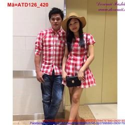 Set áo váy xòe sọc ca rô đỏ chắp cánh yêu thương ATD126