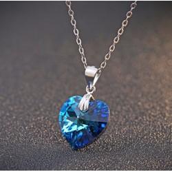 Mặt dây chuyền trái tim pha lê xanh coban