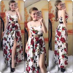 Đầm maxxi 2 dây hoa hồng so hot