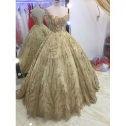 áo cưới tay ngang liem tuyến lấp lánh hàng có sẵn