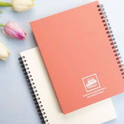 Combo 2 quyển sổ tay gáy lò xo bìa giấy mỹ thuật - Trắng và Đỏ cam