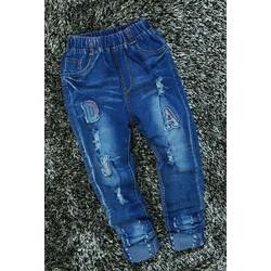 Quần jean dài size đại lưng thun thêu chữ D.A